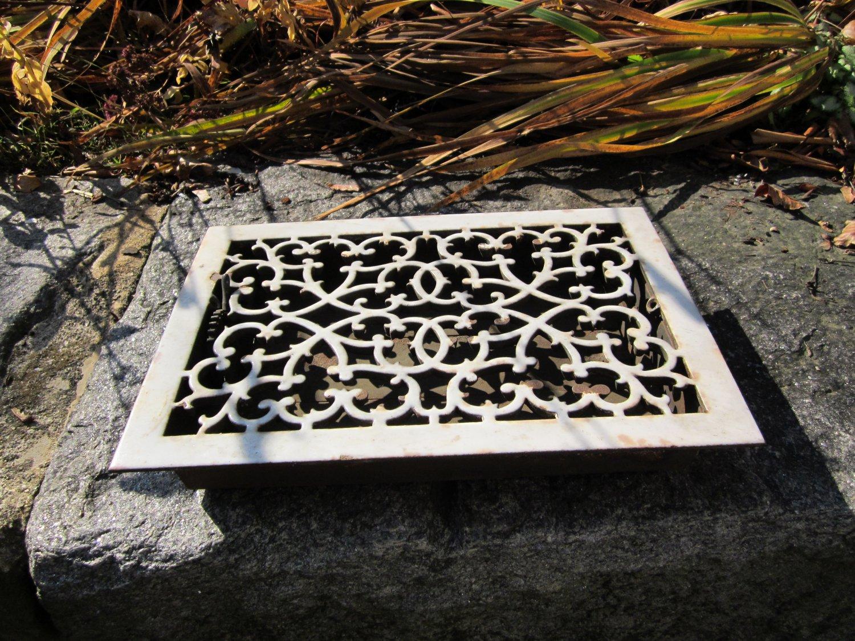 Antique Cast Iron Porcelain Heating Grate