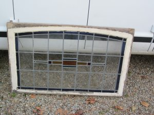 Vintage Stained Glass Leaded Window W/ Oval Top
