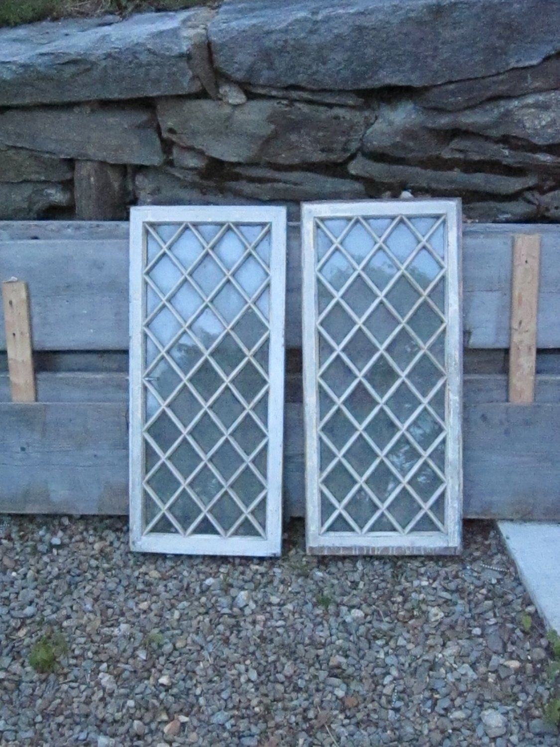 Vintage Wood Doors Diamond Pattern