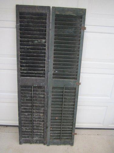 Vintage Bluish/Green Wood Shutters