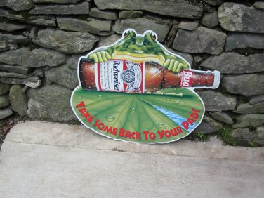 Budweiser Take Some Back to Your Pad Metal Beer Sign.