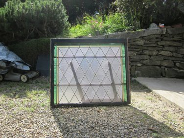 Two Window Set with Diamond Pattern Stained Glass