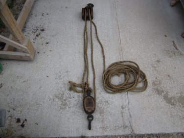 Two old Barn Pulleys with Rope