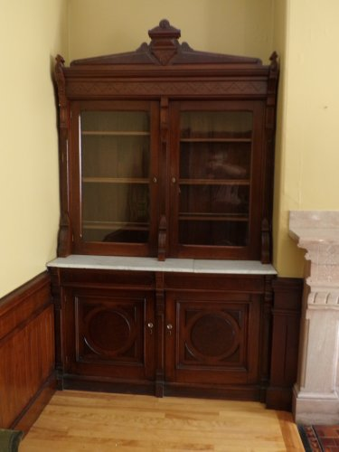 Victorian Marble Top Walnut Server with Glass Doors