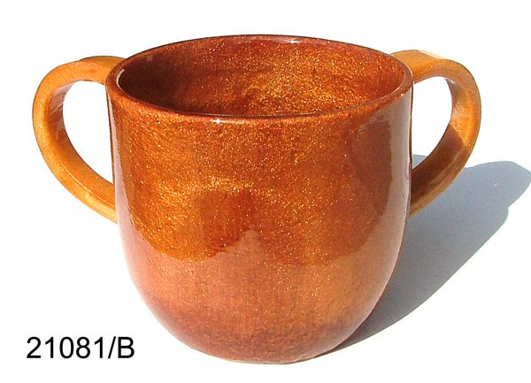 Polyresin Washcup, Caramel With Caramel Handles, By Ronit Akavia