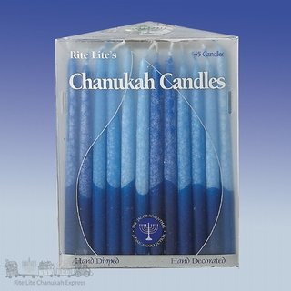 Frosted and Hand Dipped Blue and White Hanukah Candles