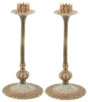 """Bridal Lotus Flower Candlesticks 8"""""""
