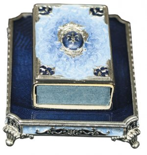 Light and Dark Blue Fleur-de-Lis Shabbat  Matchbox Set, By Quest Designer Gifts