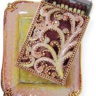 Peach, Green and Gold Ornate Matchbox Set. By Quest Designer Judaic Gifts.