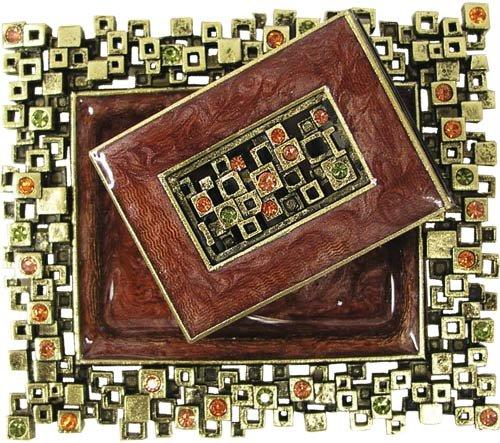 Modular Squares, Rust and Brass, Designer Shabbat Matchbox Set. By Quest Designer Judaica