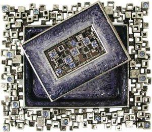 Modular Squares, Blue and Silver, Designer Shabbat Matchbox Set. By Quest Designer Judaica