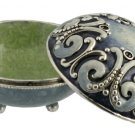 Scroll Style Salt Box, With spoon and Cover: Blue and Silver color