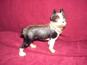 Vintage Cast Iron Boston Terrier Figure DoorStop with Chain