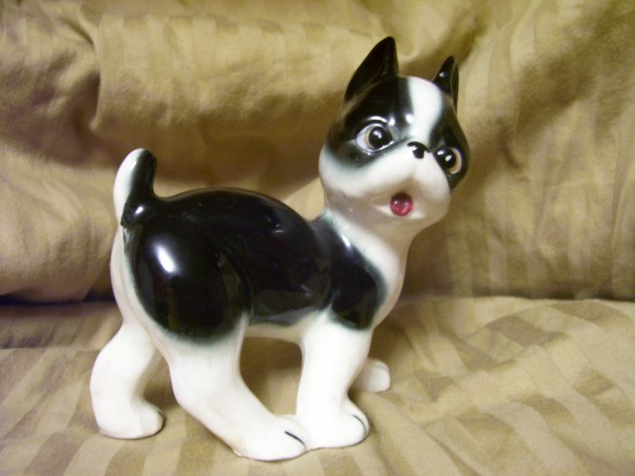 Vintage Boston Terrier Dog Figurine Made In Japan