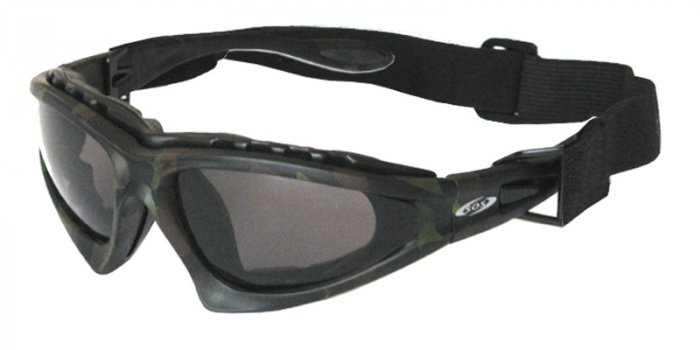 BOS Commander II Green/Brown Camo w/Smoke, Yellow and Clear Lenses