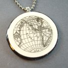 Globe on Wooden Pendant and Necklace
