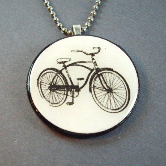 Bicycle on Wooden Pendant and Necklace