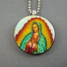 Mother Mary on Wooden Pendant Jewelry