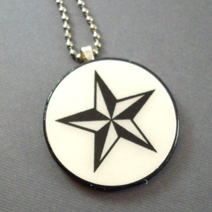 Nautical Star on Wooden Pendant Jewelry
