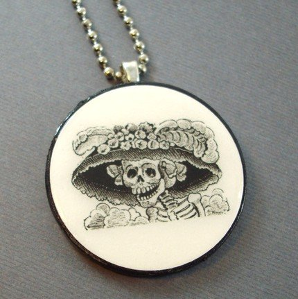Day of the Dead on Wooden Pendant Jewelry
