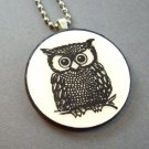 Owl on Wooden Pendant Jewelry