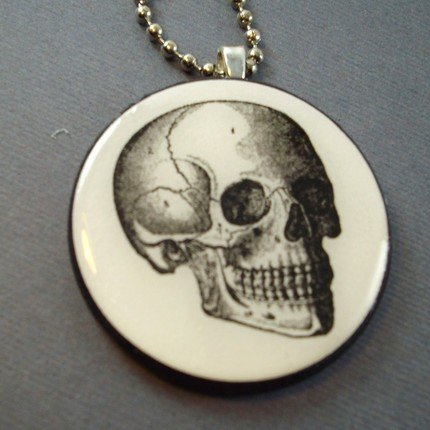 Human Skull on Wooden Pendant Jewelry