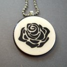 Black Rose on Wooden Pendant Jewelry