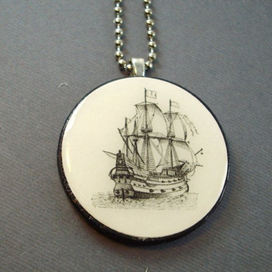 Sailing Pirate Ship on Wooden Pendant Jewelry