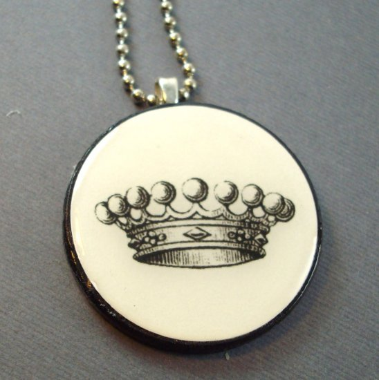 Princess Crown on Wooden Pendant Jewelry