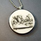 Alice in Wonderland Tea Party on Wood Pendant  Jewelry  Necklace
