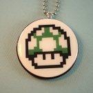One up green mushroom pixel mario Pendant Jewelry  Necklace nintendo gamer