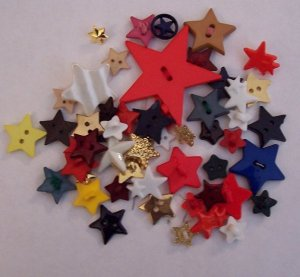 large lot of assorted star buttons for crafting