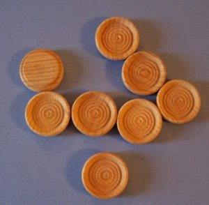 Set of 30 unfinished quality wooden checkers