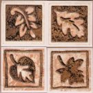 4 Mexican tiles in autumn leaf theme MIP