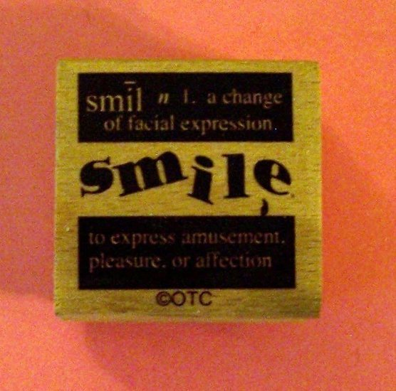 Mounted rubber stamp SMILE definition vintage style