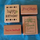 Set of 4 rubber stamps for party invitations