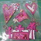 Pink hearts and gifts shaker style stickers for scrapbook greeting card altered art crafts