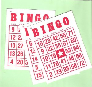 3 Red and white vintage Bingo cards