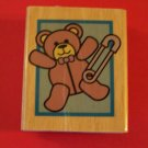 Mounted rubber stamp teddy bear and diaper pin for announcements scrapbook gift tags