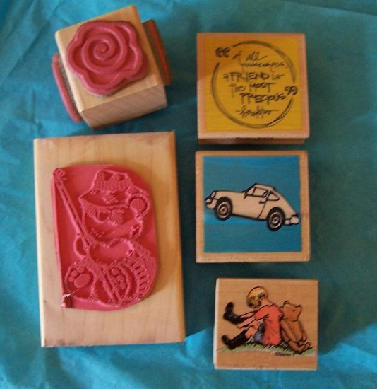 5 rubber stamps flower Winnie Pooh car friendship fishing bear
