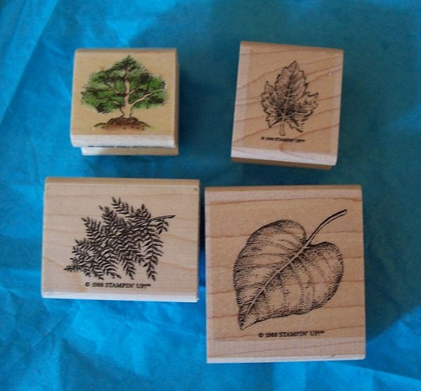 4 leaf and tree rubber stamps Stampin Up and Sky Kids