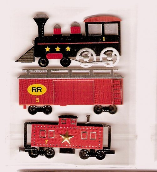 3 Dimensional Train and caboose stickers for scrapbooks cards crafts
