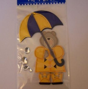 Paper Bliss teddy bear in raincoat embellishment for scrapbook greeting card altered art crafts