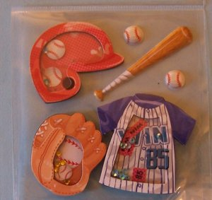 Little League baseball theme shakers and stickers for scrapbook greeting card altered art crafts