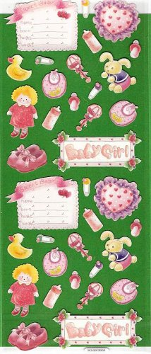 It's a Girl pink glitter stickers