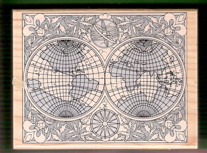 Mounted rubber stamp antique world map Stampabilities