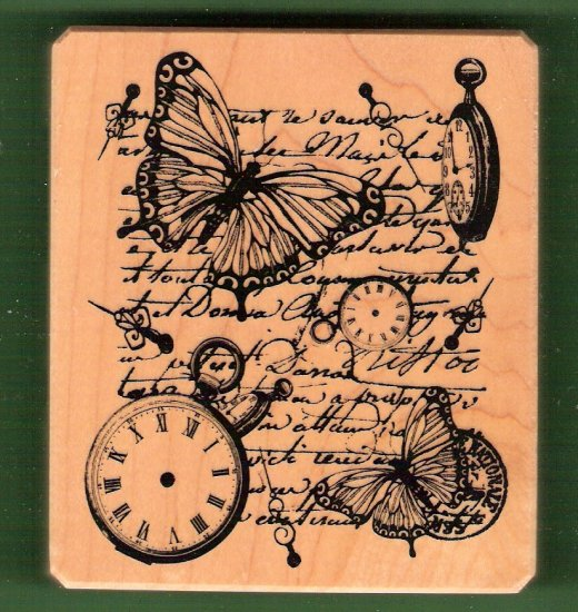 Butterflies and watches mounted rubber stamp Inkadinkadoo