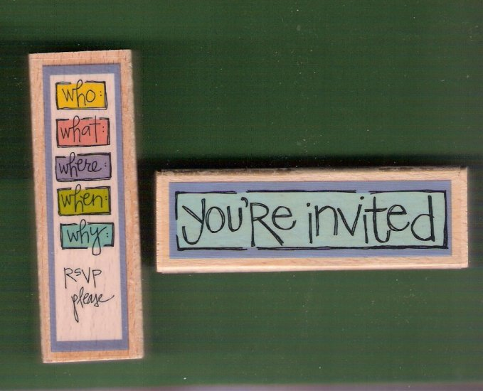 Set Party Invitation mounted rubber stamps