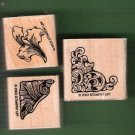 3 Vintage style flourish mounted rubber stamps Stampin Up