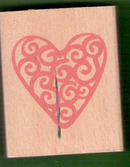 Large filigree heart mounted rubber stamp